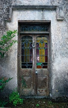 the old Lynch house, Ireland   by **mary**  <----- #DoorObsession ... and I will have stained glass one day.