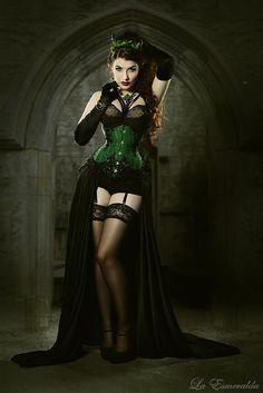 Steampunk Showgirl/Steampunk Burlesque Dancer in Green