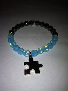 Made with Genuine Hematite Beads, 8mm  10% percent of all sales proceeds will benefit the Walk Now For Autism Speaks Walk. TeamJoseph