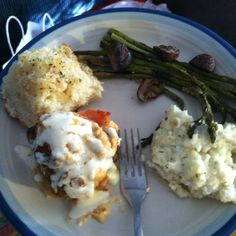 Chicken cordon bleu, homemade mashed potatoes and garlic bread, and roasted asparagus and mushrooms!