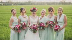 Mint Green Bridesmaid Dresses Multiway Red Flowers Bouquets English Rose Great British Countryside Floral Wedding http://karibellamy.com/