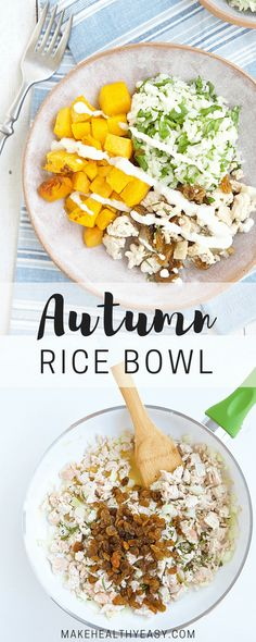 Savor all the flavors of fall with this nourishing Autumn Rice Bowl, featuring butternut squash, turkey, rosemary, rice and a garlic yogurt sauce. ~ http://jennabraddock.com