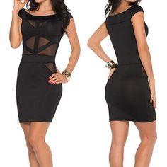 Sexy Scoop Collar Short Sleeve Spliced See-Through Dress For Women black (Sexy Scoop Collar Short Sleeve Spliced See-Through Dr) by http://www.irockbags.com/sexy-scoop-collar-short-sleeve-spliced-seethrough-dress-for-women-black