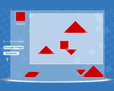See if you can recreate the tangram animals as they're displayed.  Make a square, swan, cat, dinosaur, duck, phoenix or rabbit.