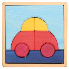 Grimm's Wooden Toddler Preschool Puzzle in Tray, Car (Includes 8 Blocks Pieces for Stacking) Wooden Block Puzzle, Wooden Puzzles, Wooden Blocks, Wooden Wagon, Wooden Car, Wooden Toys, Grimm, Preschool Puzzles, Toddler Preschool