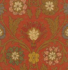 обои красно-коричневые с цветочным орнаментом T6058 Red Thibaut