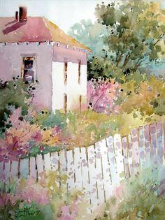 Resultat d'imatges de watercolor cottage england