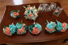 Coral and turquoise wedding bouquets Modern Interfaith Wedding Day - Modern Jewish Wedding Blog
