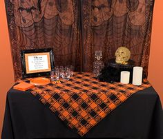 Design Imports Halloween Woven Check Table Cloth Size: L x W Tablecloth Size Chart, Tablecloth Fabric, Round Tablecloth, Tablecloths, Halloween Window, Halloween Scene, Spooky Halloween, Halloween Crafts, Happy Halloween