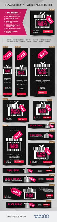 Black Friday Banners - PSD Template • Only available here ➝ http://graphicriver.net/item/black-friday-banners/13702313?ref=pxcr