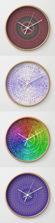 Geometric Mandala Wall Clock Collection by David Zydd #artwork #gift #wallart #gifts #productdesign #society6art