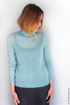 Купить Водолазка мохеровая Lana Grossa - голубой, мохеровый свитер, базовый гардероб, вяжут не только бабушки