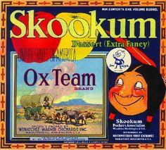 Wenatchee Skookum Ox Team Apple Fruit Crate Label Print | eBay
