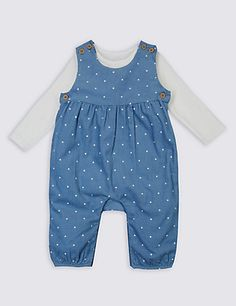 2 Piece Dungarees & Bodysuit Outfit Clothing