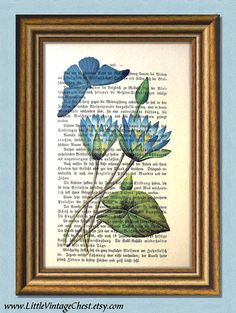 I'M BLUE  Water Lily and Butterfly by littlevintagechest on Etsy, $7.99