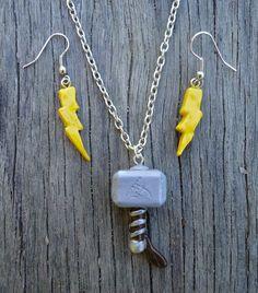Thor's Hammer (Mjolnir) Necklace and Lightning Bolt Earrings Set, Avengers Inspired.