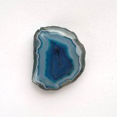 Blue Agate Slice Cabochon 37mm Geode Slice Slab by HelsinkiROCKS