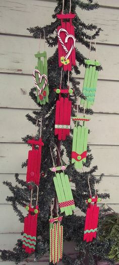 Hand Crafted Christmas Ornaments - 10 Super Cute Wood Sleds