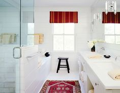 Persian rug in red and white bathroom