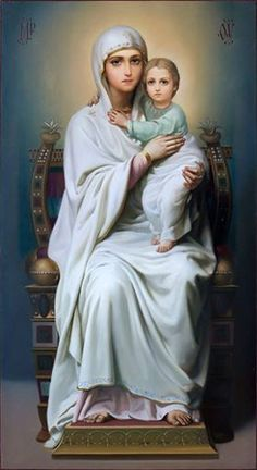 Madonna and Jesus Divine Mother, Blessed Mother Mary, Blessed Virgin Mary, Religious Pictures, Jesus Pictures, Religious Icons, Hail Holy Queen, Jesus Christus, Mama Mary