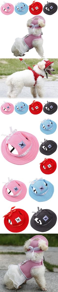 Small Pet Hat Dog Outdoor Baseball Cap Hat Bow tie Canvas Summer Dog Hat Hiking Pet Products Dog Sun Hats