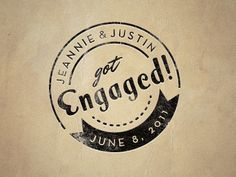 Label, font, ribbon, circle, stamp, embossed, color texture.  Dribbble - Engagement Stamp by Justin Hall