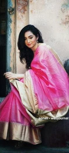 Soft pink and gold silk saree. Love this colour combo. South Indian fashion. Visit us at https://www.facebook.com/pages/Zarah/1578754045707532