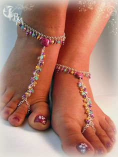 Beaded Barefoot Sandals in Greens and by CreationsbyMoonlight