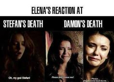 Elena's reaction at stefan's death vs damon's death