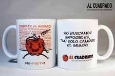 Taza de Al Cuadrado de cerámica, apta para microondas y lavavajillas, con ilustración crítica hacia el tabú de la sexualidad y el placer propio. Mugs, Tableware, Licence Plates, Microwaves, Dishwasher, Products, Dinnerware, Tablewares, Mug