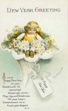 May joy and gladness fill your heart this New Year's! #vintage #New_Years #card