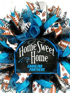Carolina Panthers Deco Mesh Wreath Home Sweet by WreathsEtcbyLisa
