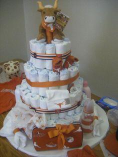 longhorns diaper cake-for Martha's baby shower?