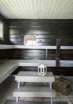 kuva Sauna Design, Finnish Sauna, Spa Rooms, Rocket Stoves, Home Spa, Saunas, Outdoor Pool, My Dream Home, Home And Living