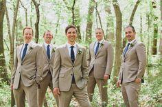 Khaki Groomsmen Suits with Navy Ties