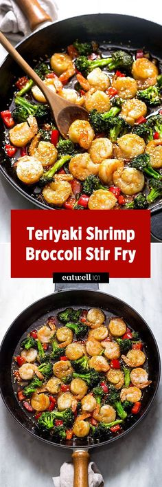 Teriyaki Shrimp and Broccoli Stir Fry — Tender shrimp are sautéed in a delicious homemade teriyaki sauce along with crunchy broccoli and sweet bell peppers. So easy to make and it only takes 20 min…