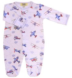 This footie for baby boys has pictures of red, blue, and navy airplanes zooming through clouds.  The sleeves have fold over cuffs to prevent baby from scratching his face.  Available in sizes 3-6 Months (12-15 lbs 5.4-6.8 kg), 6-9 Months (16-19 lbs/7.25-8.6kg), and 9-12 Months (20-23lbs/9.10-10.40 kg). From Kissy Kissy's Qt-Qt line of baby clothing.