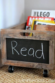 Reading cart on wheels - easy to drag around for a little boy who loves to read