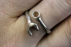 Sterling Silver Spanner Wrench Ring  Adjustable by mrd74 on Etsy, $39.00