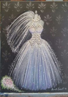 Simple Acrylic Paintings, Paintings I Love, Paper Fashion, Fashion Art, Wedding Dress Illustrations, Dress Painting, Angel Dress, South African Artists, Beautiful Gowns