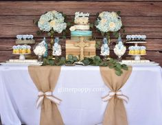 Laura Cristina with Glitter Poppy's Baptism / Rustic Baptism - Photo Gallery at Catch My Party Baptism Table Decorations, Baptism Dessert Table, Baptism Desserts, Boy Baptism Centerpieces, Baptism Themes, Baptism Party Favors, First Communion Decorations, Baptism Photos, First Communion Party