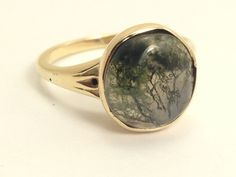 Cabachon Moss Agate Ladies Ring in 10 Karat by EstateJewelryMama, $284.00