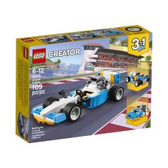LEGO Creator - Extreme Engines and thousands more of the very best toys at Fat Brain Toys. Build an intense race car, a hot rod, or a super-fast speedboat! The race car features a large rear engine and rear spoiler. Lego Creator, The Creator, Legos, Lego Auto, Lego City Police, Walmart, Lego System, Lego Toys, Speed Boats