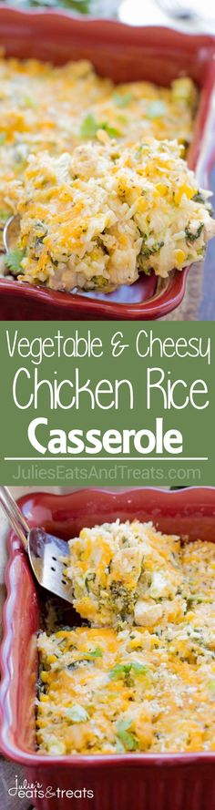 Vegetable and Cheesy Chicken Rice Casserole Recipe ~ Easy, no fuss casserole for dinner! Loaded with all sorts of Delicious Ingredients and the Leftovers are even better the next day.