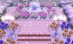A nice winter scene with gold, pink, purple and white roses, a fountain and two fairy tale lamps. ~ Town inspiration: winter lights  mischa crossing