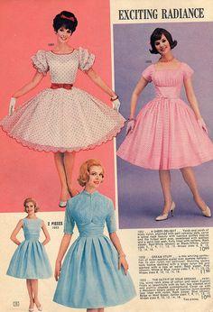 Vintage Fashion Delightfully darling frock fashions from a 1962 Lana Lobell catalog. Moda Vintage, Velo Vintage, Vintage Girls, Vintage Dresses, Vintage Outfits, 1950s Dresses, Vintage Clothing, Frock Fashion, Fifties Fashion