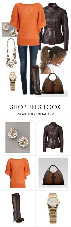 """Orange/Brown/Gold"" by manda3482 ❤ liked on Polyvore featuring Champion, Christian Dior, Stephen Dweck, Donna Karan, Oasis, Gucci and Burberry"