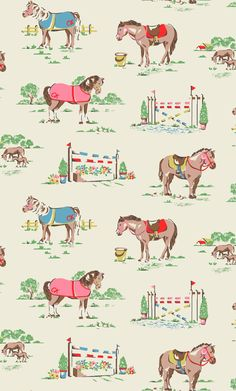 Pony | The perfect print for pony-mad little ones! Our pretty ponies are saddled up and ready for a spot of showjumping and grazing in the field sporting smart monogrammed blankets | Cath Kidston Autumn Winter 2016 |