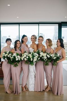 A bride on a lace Wedding dress and her bridal party wearing blush bridesmaid dresses. See more of this stunning australian wedding by clicking on the photo - Photography: Prue Franzman Blush Bridesmaid Dresses, Wedding Bridesmaids, Bridal Dresses, Bridesmaid Color, Bridesmaid Flowers, Bridesmaid Hair, Wedding Bouquets, Lace Wedding, Dream Wedding