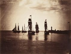 """Boats leaving the port of Le Havre, France, 1856. Photo by Gustave Le Gray (1820-1884), an important early French photographer. Trained as a painter by some prominent artists, he switched to the medium of photography in the 1840s (today we'd call him an """"early adopter""""). He became in time the official photographer to Emperor Napoleon III."""